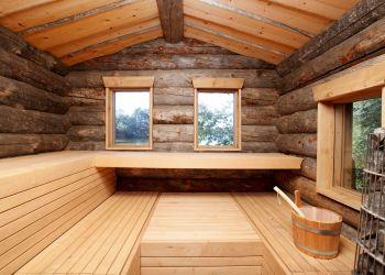 Original finnische Sauna am See.